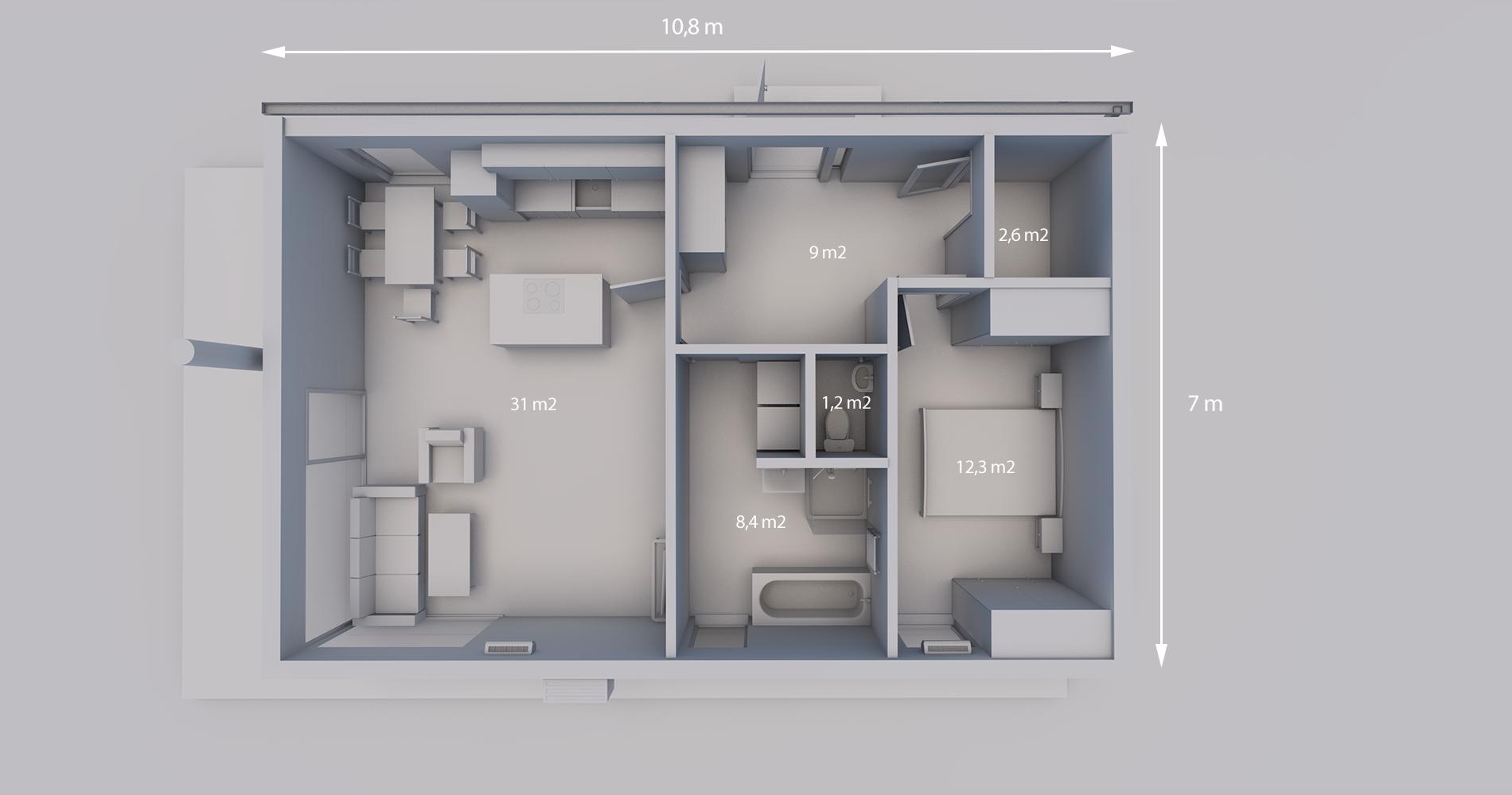 Rodinný dům 75S 2+kk 1